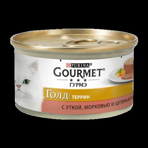 Gourmet Gold Консервы для кошек с Уткой, морковью и шпинатом по-французски, Кусочки в паштете