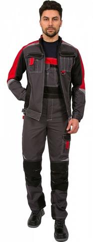 Костюм Формула (тк.Балтекс,240) куртка,п/к , серый/красный/черный