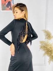 Платье Zada бахрома паетки однотон