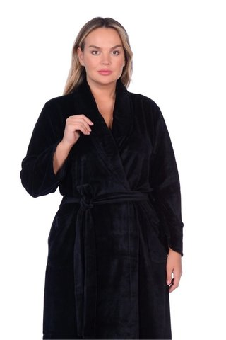 Женский велюровый халат 383 черный