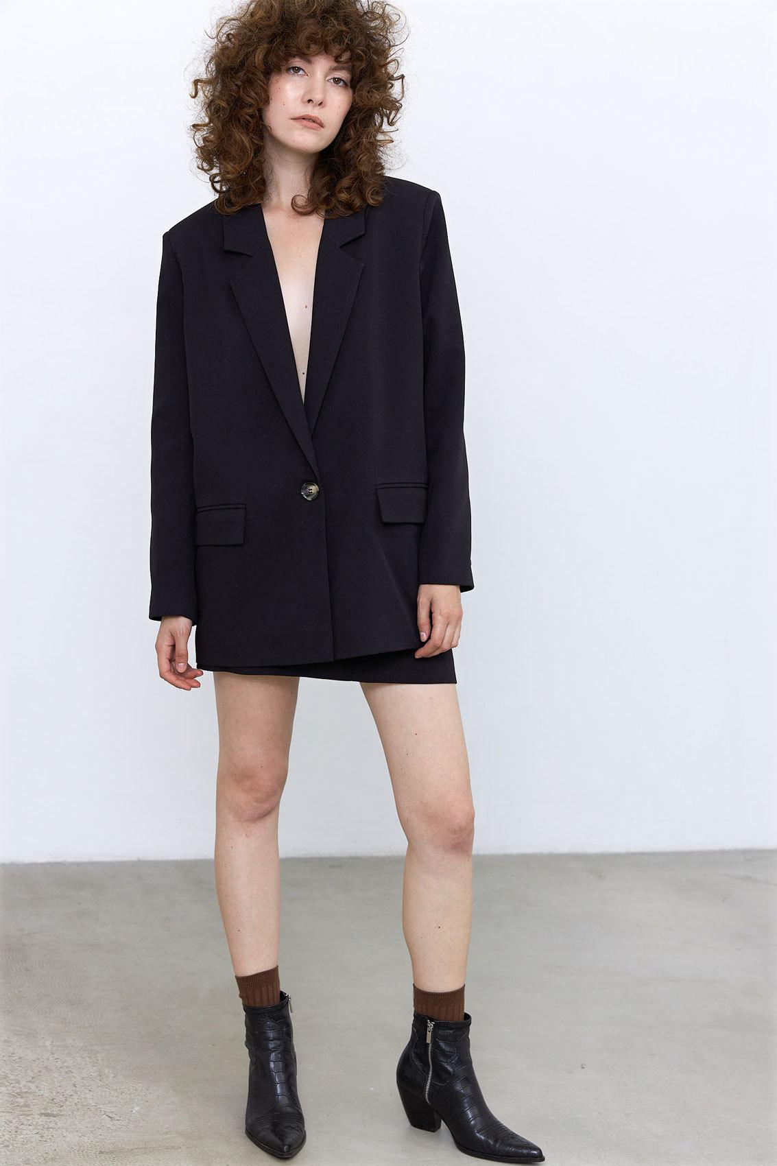 Юбка мини с гульфиком (костюмный твил), черный