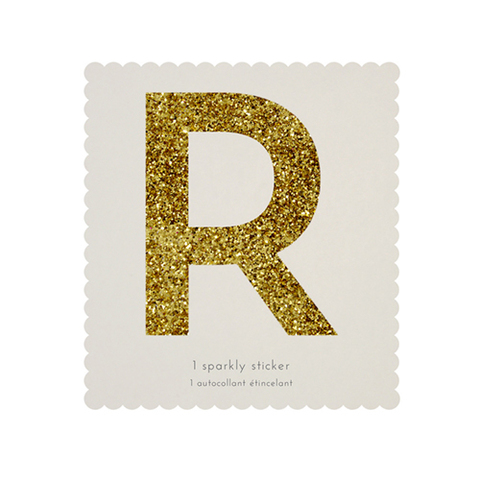 Стикер R, мерцающее золото