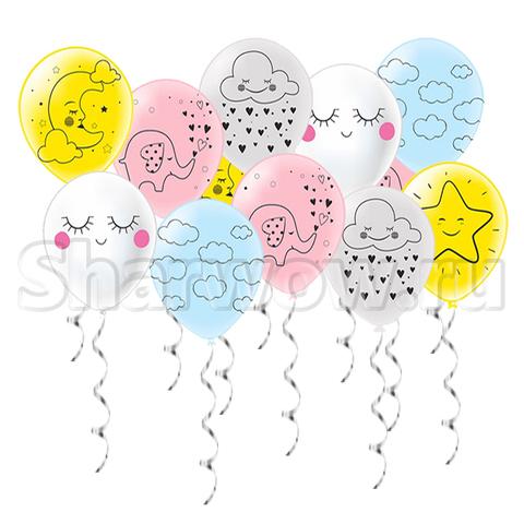 Нежный комплект шаров с детскими рисунками