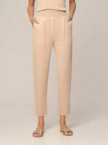Женские брюки песочного цвета из вискозы - фото 4