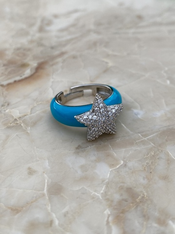 Кольцо Файви из серебра с голубой эмалью
