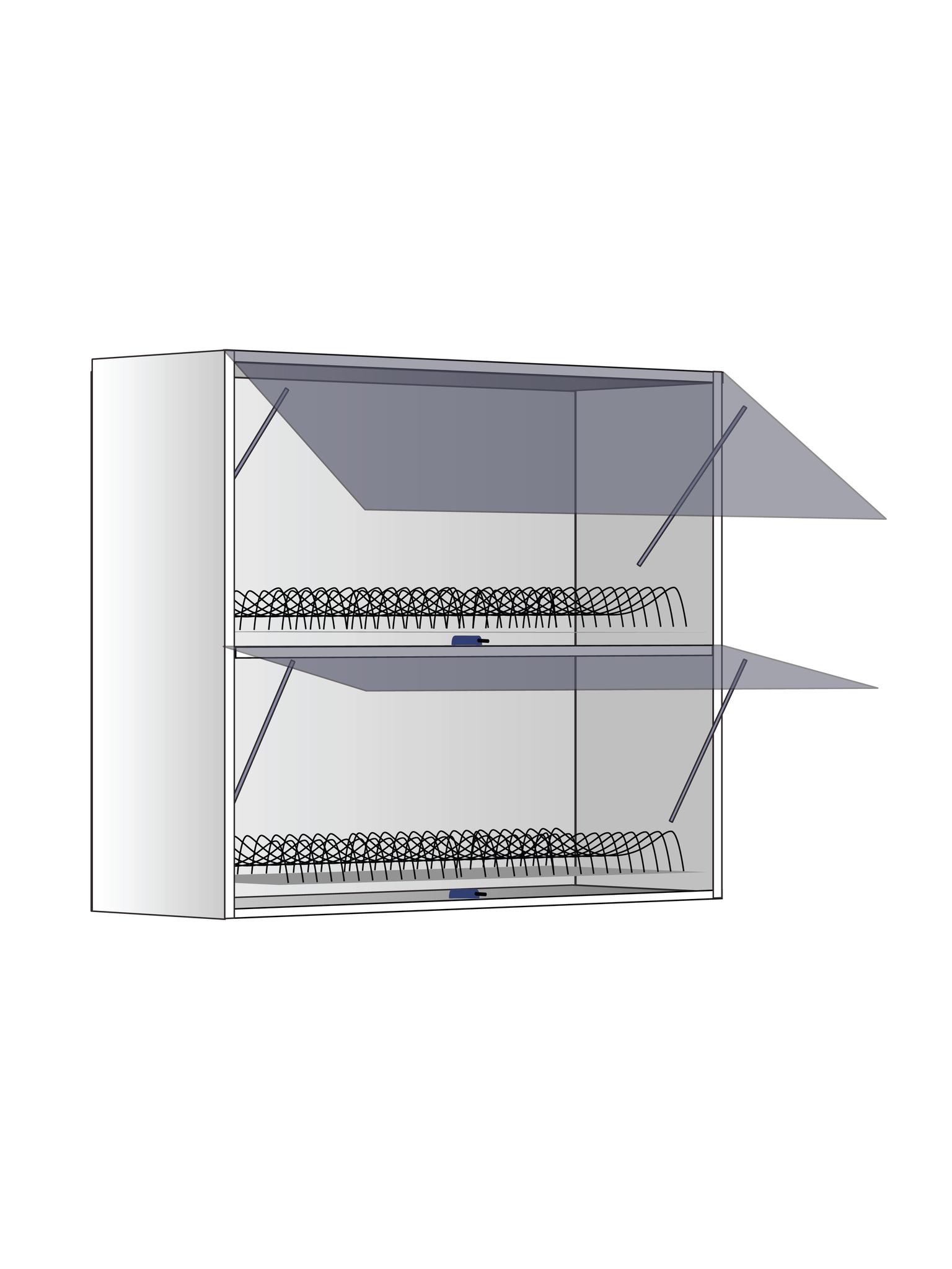 Верхний шкаф с сушилкой и  газлифтами, 720Х800 мм / PushToOpen