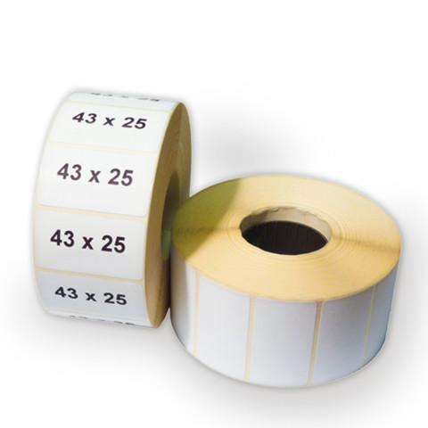 Термоэтикетка 43х25 мм ЭКО (1 рулон = 1000 шт) втулка 40 мм