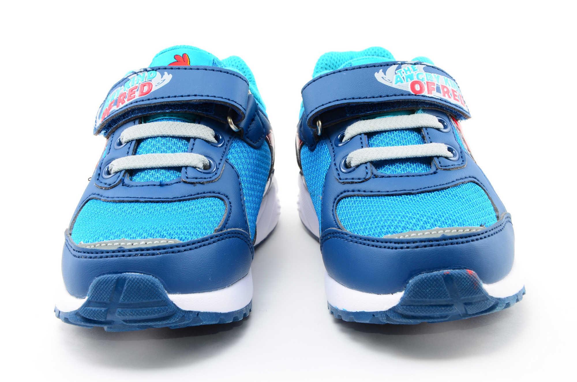 Светящиеся кроссовки для мальчиков Энгри Бердс (Angry Birds) на липучках, цвет синий, мигает картинка сбоку