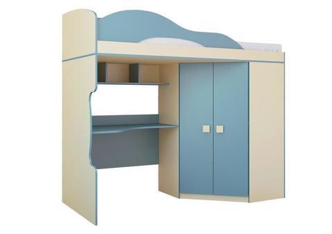 Кровать Радуга 2 этаж + шкаф 80х200 Горизонт василек