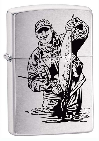 Зажигалка Zippo Рыбак, латунь с покрытием Brushed Chrome, серебристая, матовая, 36x12x56 мм123