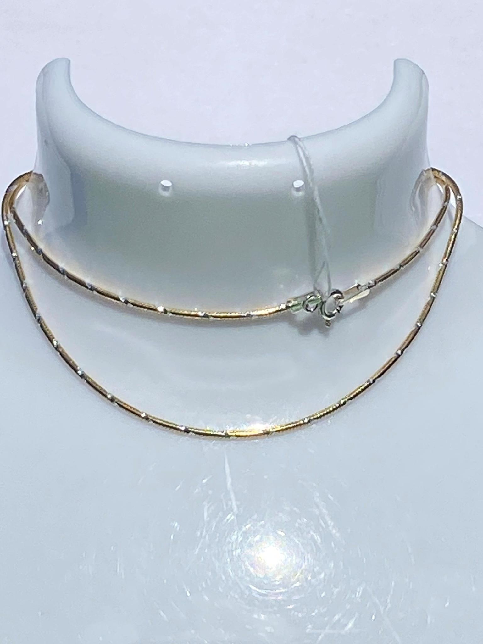 Снейк круглый с алмазными насечками  (цепочка из серебра с позолотой)