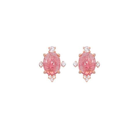 Пуссеты с розовым турмалином