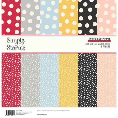Набор двусторонней бумаги 30х30см Simple Stories Basics Double-Sided Paper Pack -Say Cheese Main Street -6л
