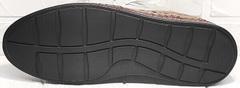 Мужские кожаные слипоны мокасины на высокой подошве кэжуал стиль летние Luciano Bellini 91737-S-307 Coffee.