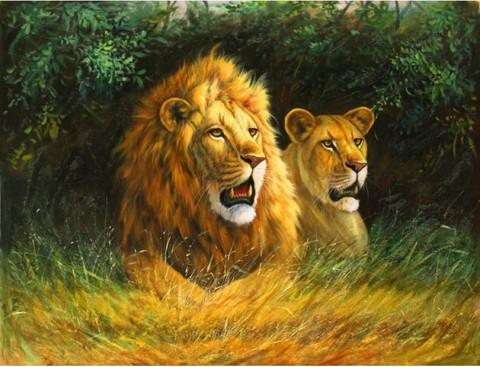 Алмазная Мозаика 30x40 Лев и львица отдыхают в тени (арт. FEG70141)