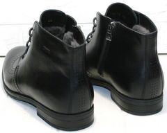 Зимние мужские ботинки на натуральном меху Ikoc 3640-1 Black Leather.