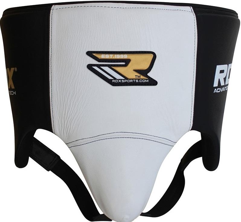 Бандажи/Защита паха Бандаж RDX Groin Guard Leather Black/White& 1.jpg