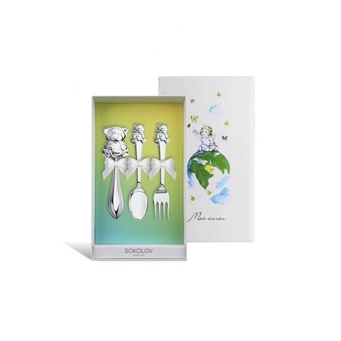 24016 - Подарочный набор для малыша из серебра ( погремушка+ложка+вилка)