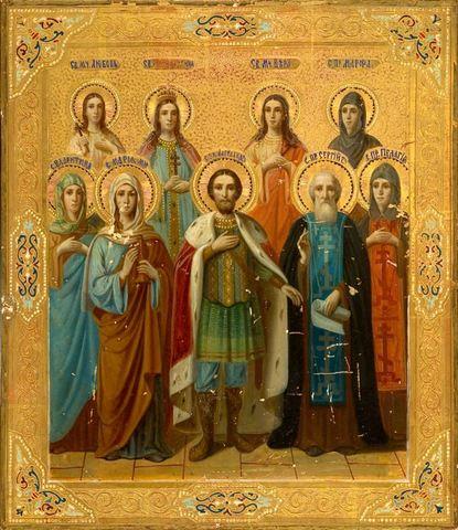 Икона святой Александр Невский со святыми на дереве на левкасе мастерская Иконный Дом