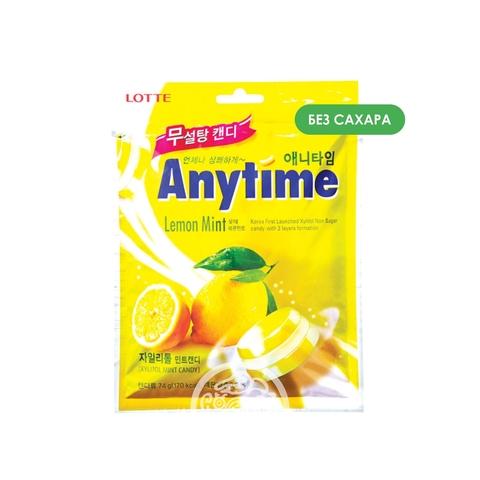 Карамель леденцовая с ксилитолом Anytime Lemon Mint без сахара 74г Lotte Корея