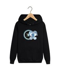 Толстовка черная с капюшоном (худи, кенгуру) и принтом Знаки Зодиака, Близнецы (Гороскоп, horoscope) 001