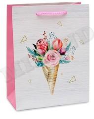 Dream cards Пакет подарочный Цветы и треугольники 18х23х10 см, 1 шт.