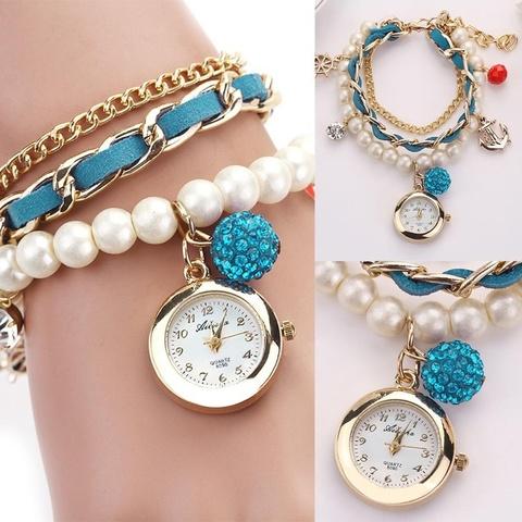 Купить Часы-браслет с жемчугом (бирюзовый) в Магазине тельняшек