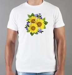 Футболка с принтом Цветы (Подсолнухи) белая 006