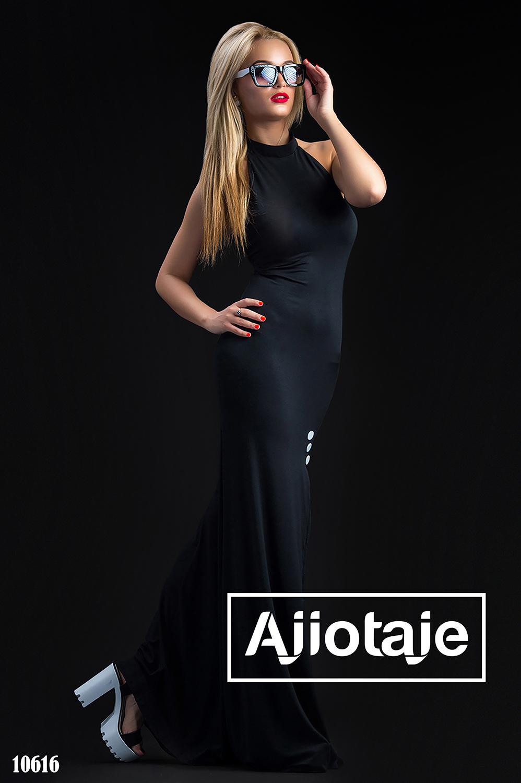 Черное платье в пол с открытой спинкой