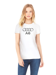 Футболка с принтом Ауди A6 (Audi A6) белая w003