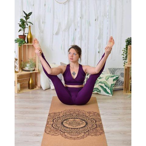 Пробковый йога коврик Mandala 183*66*0,4 см
