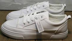 Летние спортивные туфли кеды белые кожаные женские El Passo 820 All White.