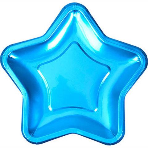 Тарелки блестящие Звезда голубая, 8 штук