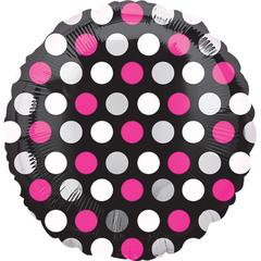 А Круг Горошек бело-розовый на черном S30, 18