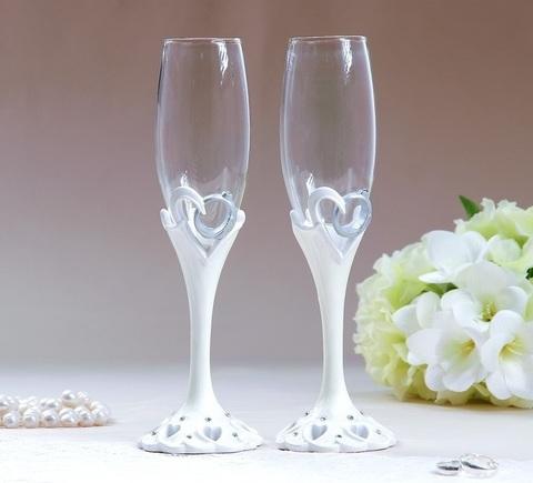 Набор свадебных бокалов «Кольца», на ножках, полистоун, 25 см, 250 мл