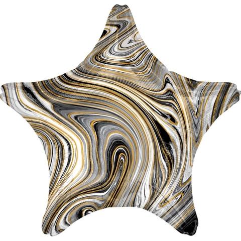 Воздушный шар Звезда Черный мрамор, 45 см