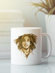 Кружка с рисунком Боб Марли (Bob Marley) белая 003