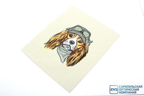 Салфетка для протирания очков из микрофибры в индивидуальной упаковке с рисунком С17
