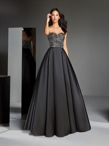 Вечернее платье бальное черное с открытым декольте