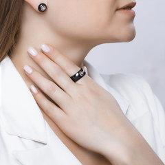 6015011 - Кольцо из чёрной керамики с белым золотом и бриллиантом