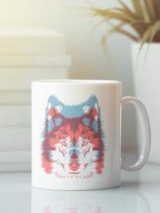 Кружка с изображением Волк (Wolf) белая 0011