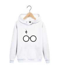Толстовка белая с капюшоном (худи, кенгуру) и принтом Гарри Поттер (Harry Potter) 001