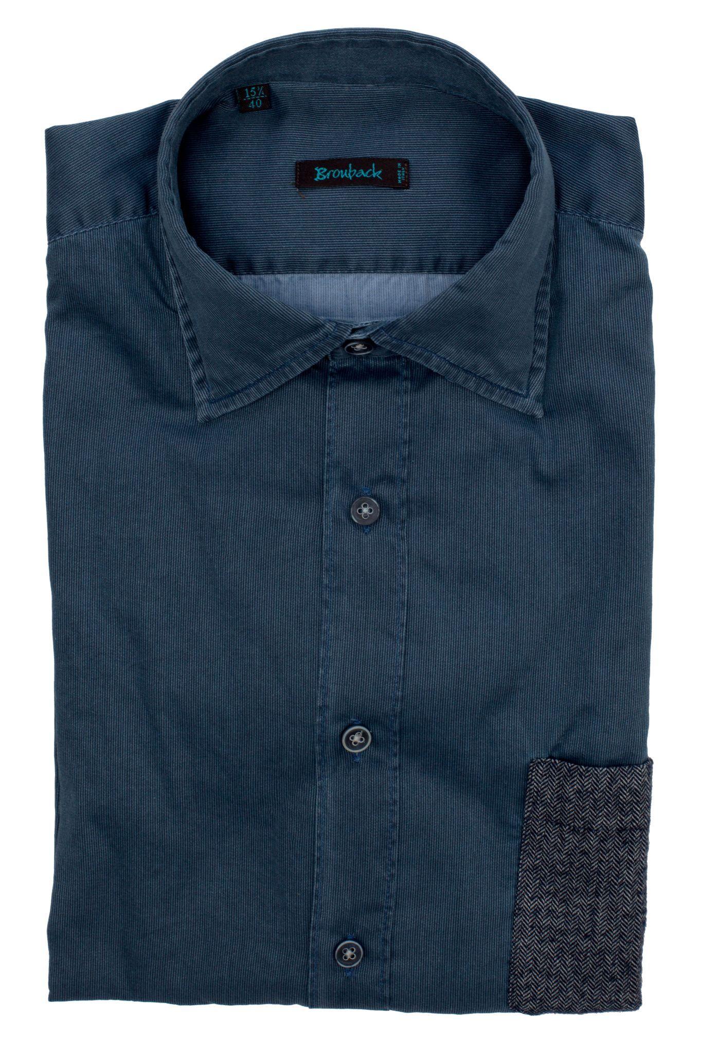 Синяя рубашка в рубчик с накладным серым карманом