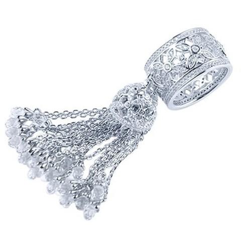 4796- Кольцо из серебра с кисточкой из цепочек с каплевидными цирконами