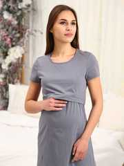 Мамаландия. Сорочка для беременных и кормящих с горизонтальным секретом, серый/белый горох