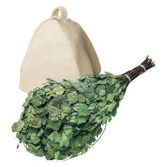 Подарочный Банный набор (веник, шапка)