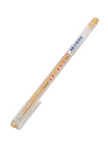 Ручка гелевая желтая с блестками