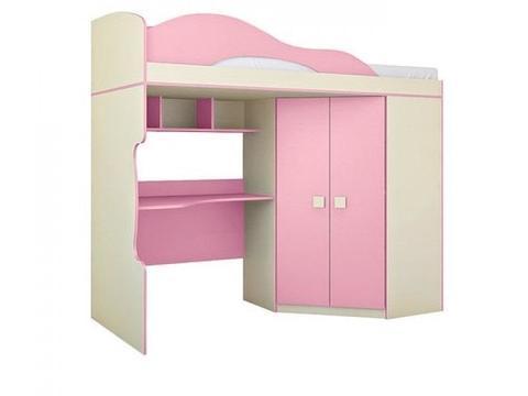Кровать Радуга 2 этаж + шкаф 80х200 Горизонт фламинго