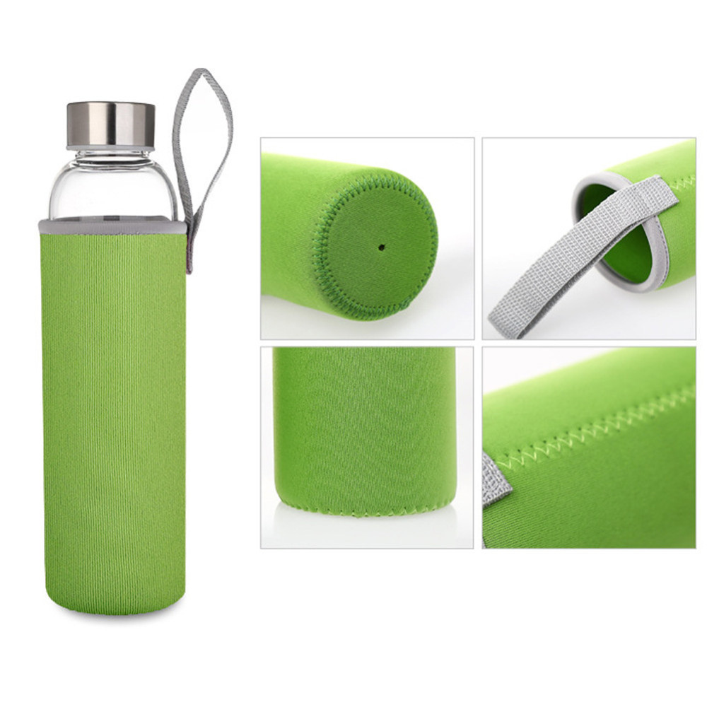 Бутылка из боросиликатного стекла 0,55 л в зеленом чехле
