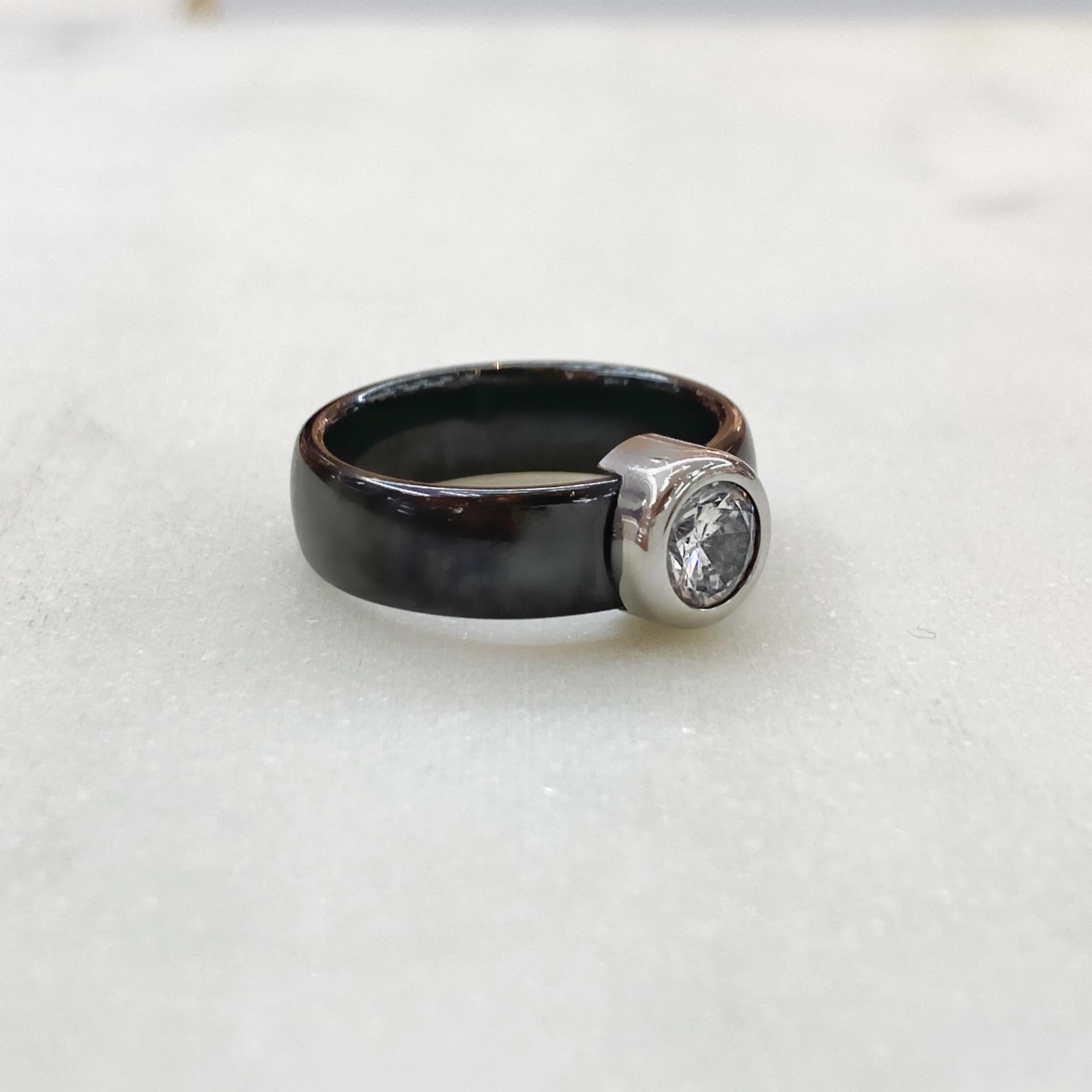 Кольцо Керамика с вставкой-цирконом черный (сталь)